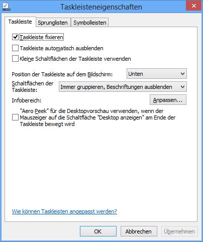 Taskbareigenschaften von Windows 8