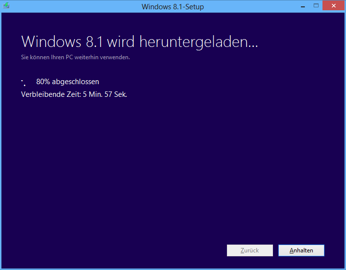 Windows 8.1 Download Fortschritt