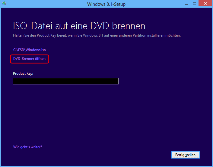 Windows 8.1 ISO brennen