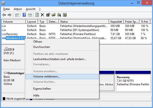Windows 8.1 Dualboot: Datenträgerverwaltung Partition verkleinern