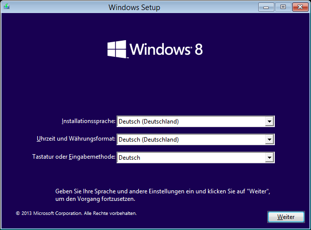 Windows 8.1 Installation: Sprache auswählen