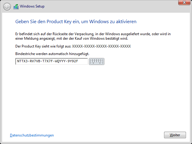 Windows 8.1 Installation: Produkt-Key Eingabe