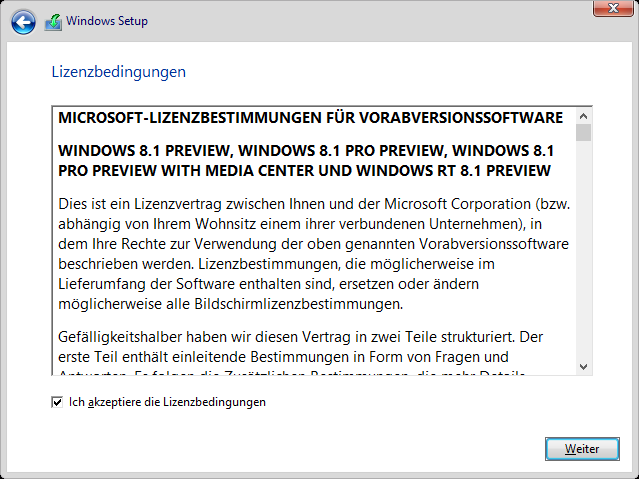 Windows 8.1 Installation: Lizenzbedingungen
