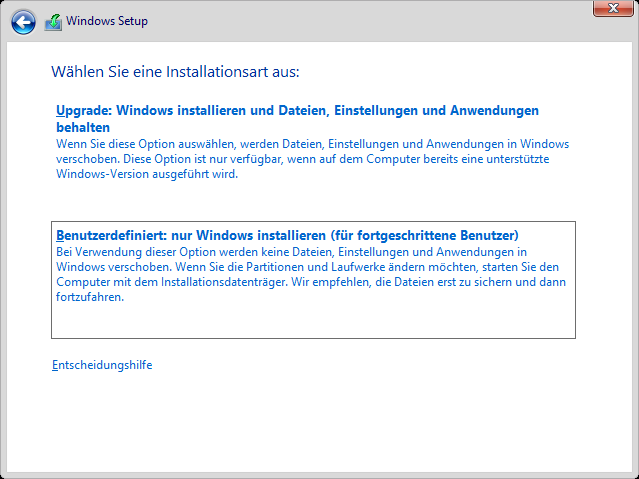 Windows 8.1 Installation: Installationsart auswählen