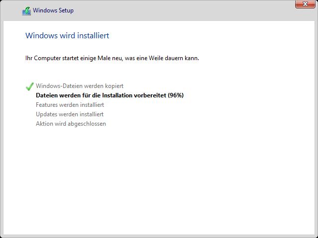 Windows 8.1 Installation: Verlauf