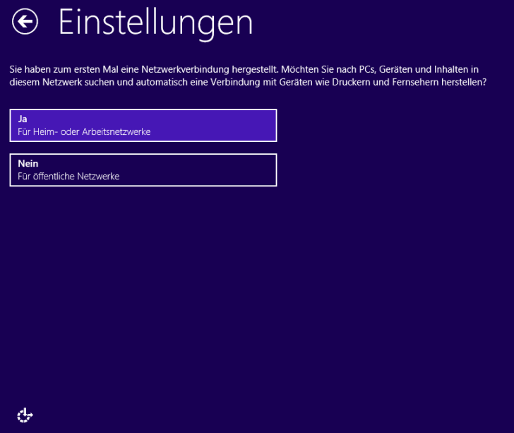 Windows 8.1 Installation: Freigaben einstellen