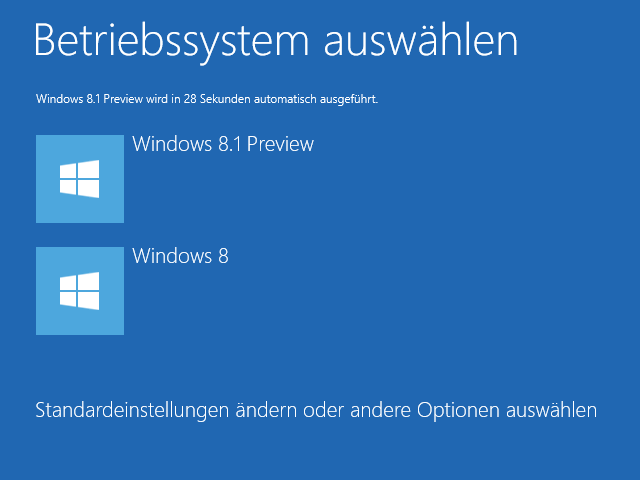 Windows 8.1 Dualboot: Bootmenü