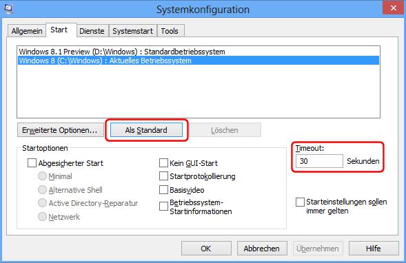Windows 8.1 Dualboot: msconfig ändern