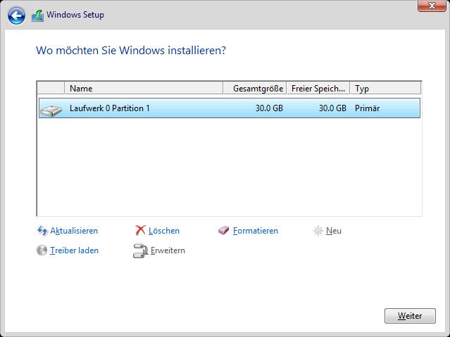 Windows 8.1 Installation: Festplatte auswählen