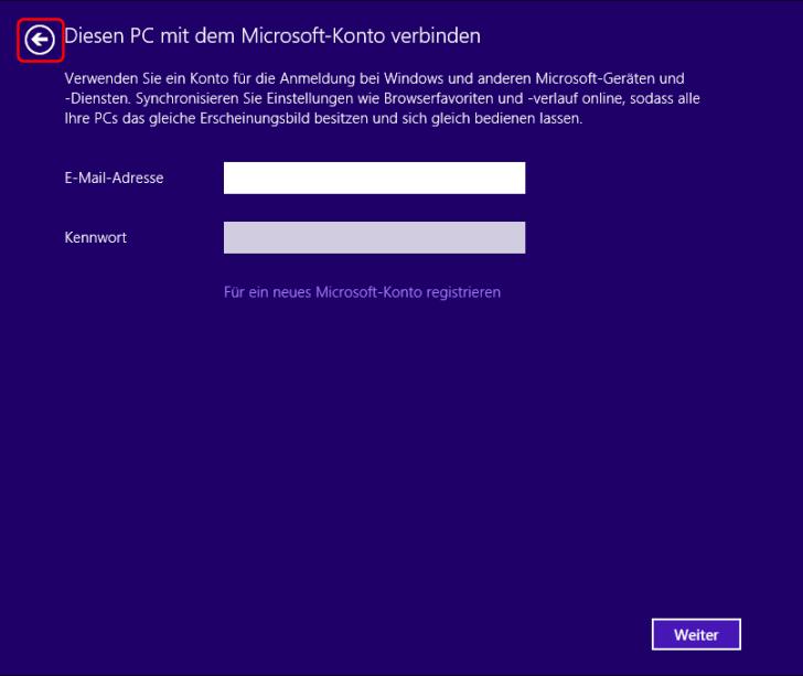 Windows 8.1 Installation: Microsoft Konto Anmeldung