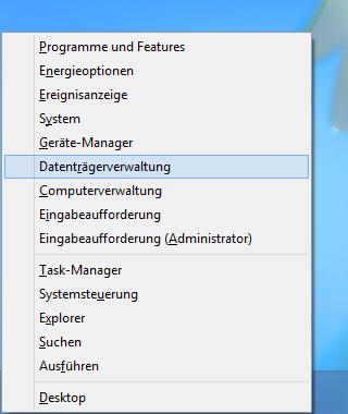 Datenträgerverwaltung starten vom Desktop