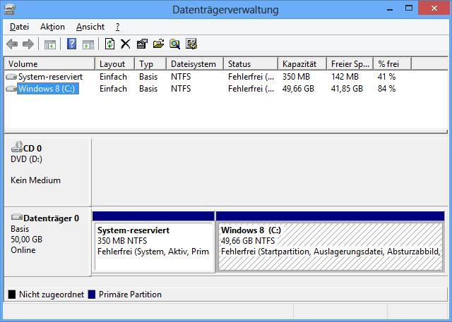Ausgangssituation Datenträgerverwaltung