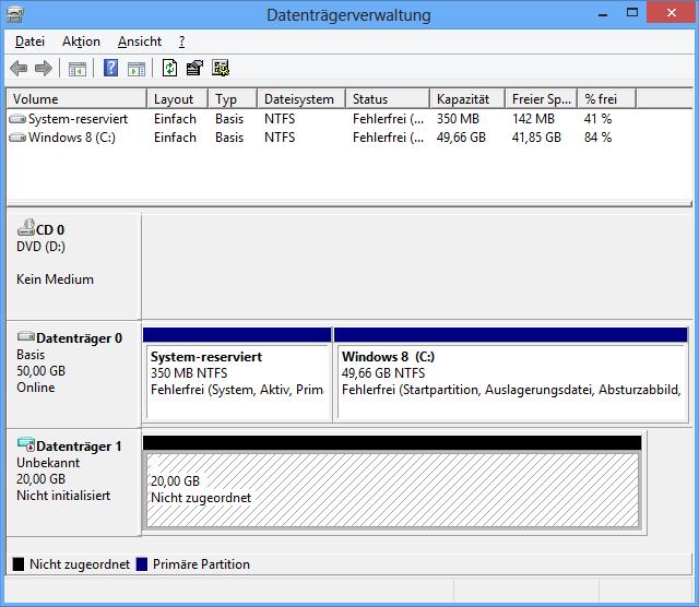 Leere virtuelle Festplatte in der Datenträgerverwaltung