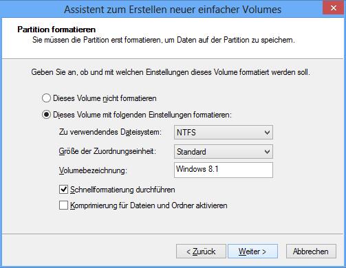 Dateisystem festlegen und Partitions-Namen vergeben