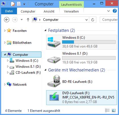 ISO-Datei als DVD in der Explorer-Ansicht