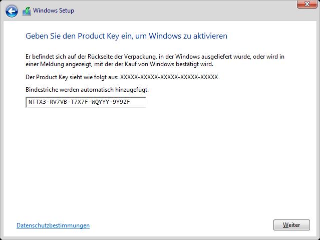 Produkt-Key Eingabe