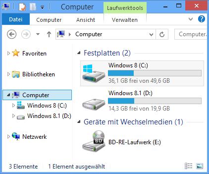 Explorer-Ansicht aus Sicht von Windows 8