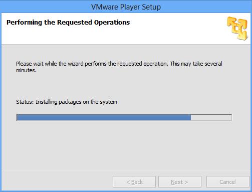 VMware Fortschritt der Installation