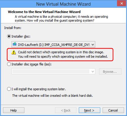 VMware Installationsmedium auswählen