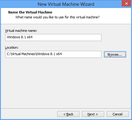 VMware Name und Installationsort der virtuellen Maschine