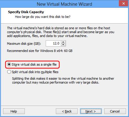 VMware Auswahl der Festplattengröße