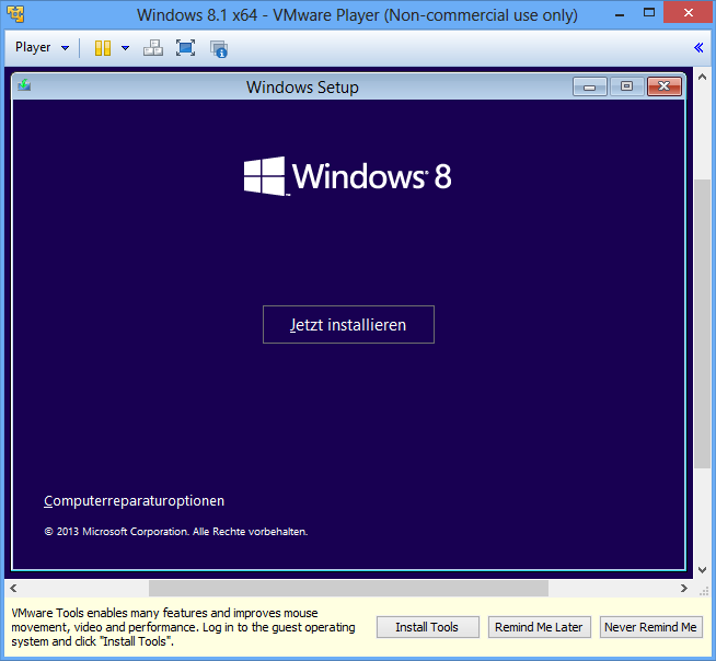 Windows 8.1 Computerreparaturoptionen