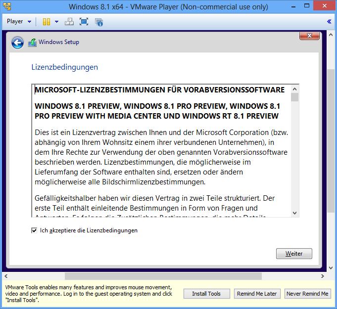 Windows 8.1 Lizenzbedingungen