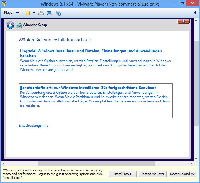 Windows 8.1 Installationsart auswählen