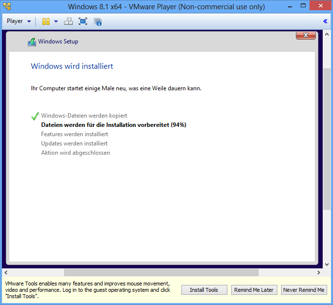 Windows 8.1 Installationsverlauf