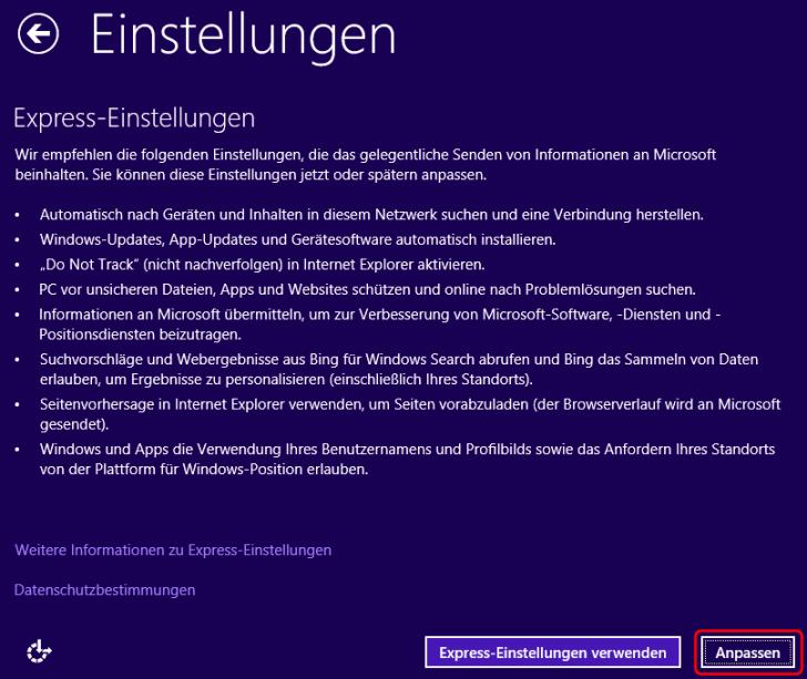 Windows 8.1 Installation Einstellungen anpassen