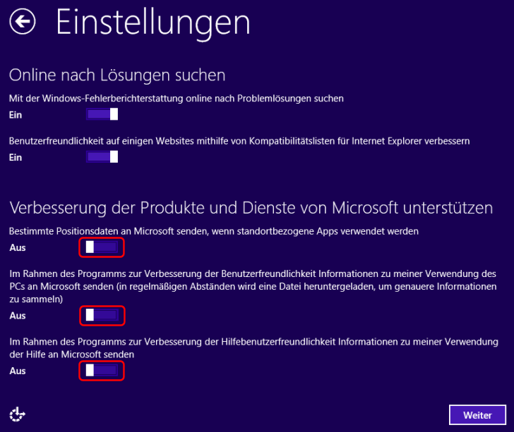 Windows 8.1 Installation Informationen übermitteln