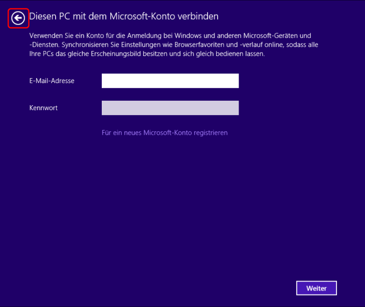 Windows 8.1 Installation Microsoft-Konto Anmeldung