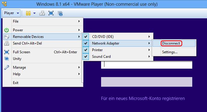 VMware Netzwerk deaktivieren