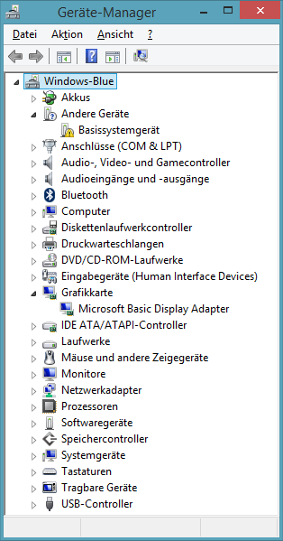 Gerätemanager vor der Installation von VMware Tools