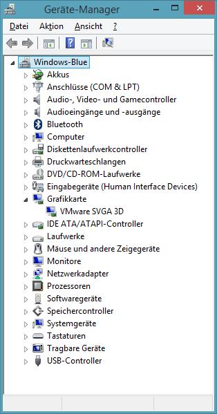 Gerätemanager nach der Installation von VMware Tools