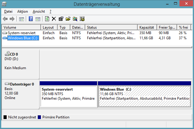 Virtuelle Maschine Datenträgerverwaltung