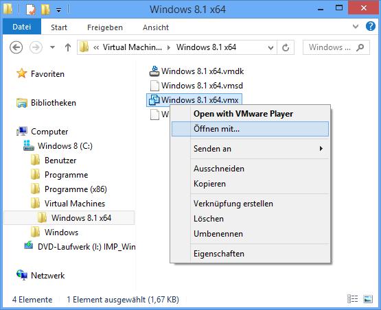 VMware VMX-Datei bearbeiten