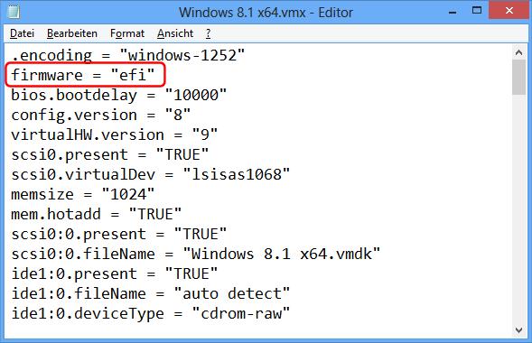 VMware VMX EFI Umschaltung
