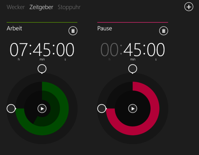 Zeitgeber App mit mehreren, rückwärts laufenden Zeiten