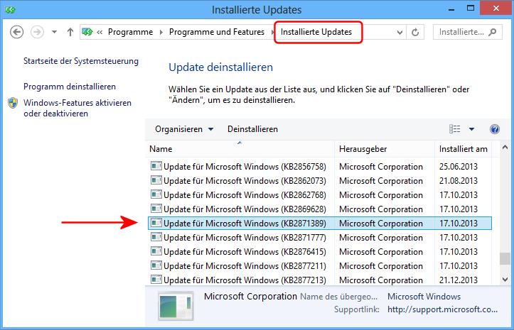 Windows 8.1 Update-Verlauf