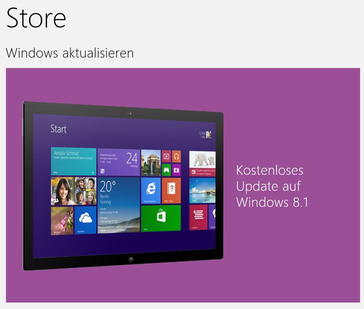 Windows 8.1 Update im Store