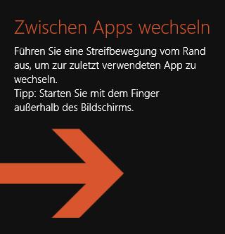 Orangener Pfeil Zwischen Apps wechseln