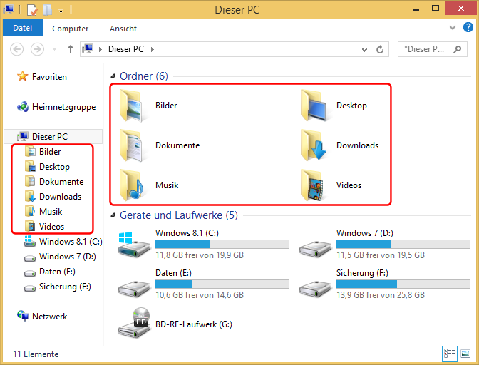 Windows 8.1 Explorer Ausgangsituation