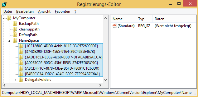 Windows 8.1 Explorer Ordner entfernt mit Registry