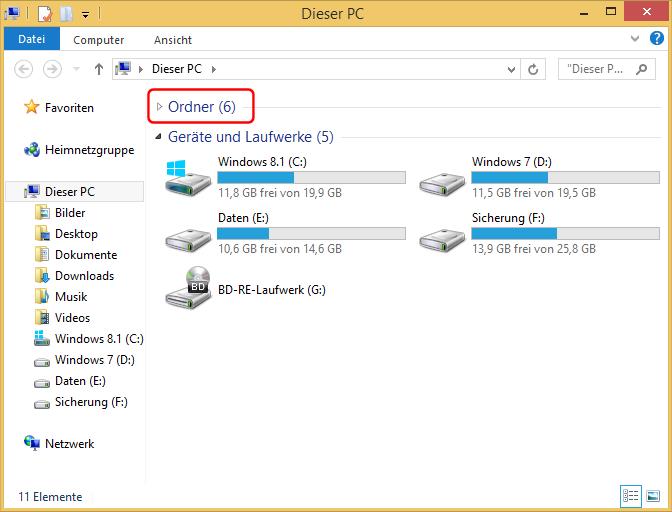 Windows 8.1 Explorer zusammengeklappt