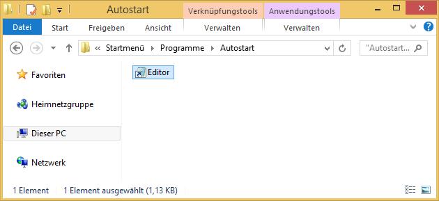 Editor-Verknüpfung im Autostart-Ordner einfügen