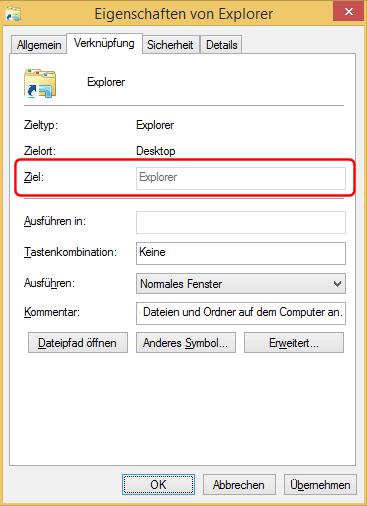 Eigenschaften der Explorer-Verknüpfung bei Windows 8.1