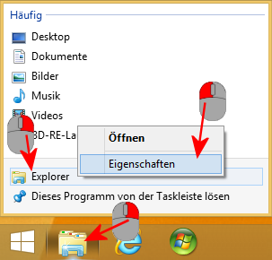 Explorer-Verknüpfung öffnen bei Windows 8.1