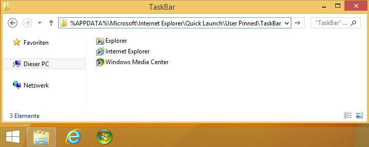 Ordner User Pinned TaskBar