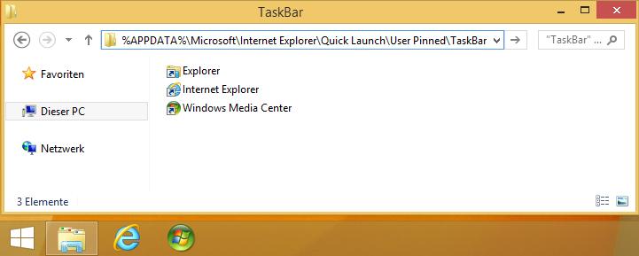 Ordner User Pinned TaskBar